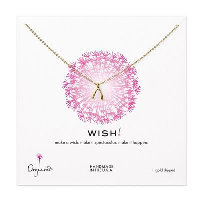 teeny wishbone necklace, gold dipped - Dogeared
