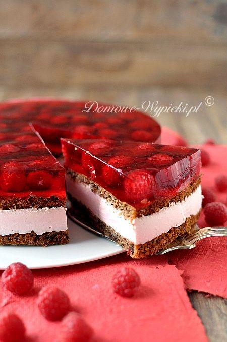 Orzechowo- czekoladowe ciasto z galaretką