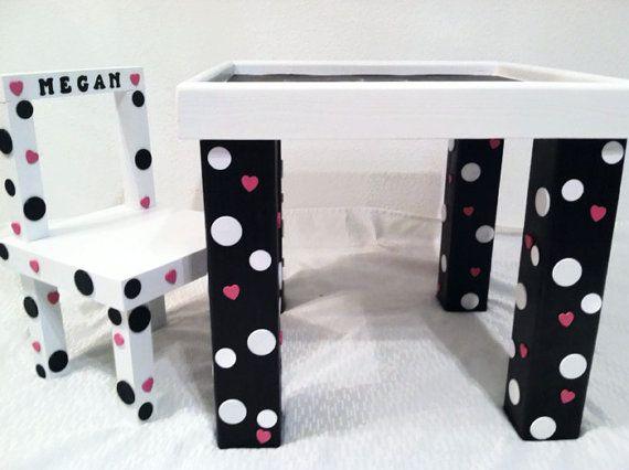 Chalkboard Table, 20x20x18 Kids Table, Kids Chalkboard Table, Polka Dots,  Activity Table