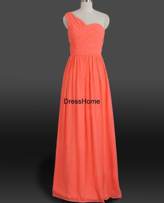 one-shoulder bridesmaid dress,long prom dress,orange bridesmaid dress