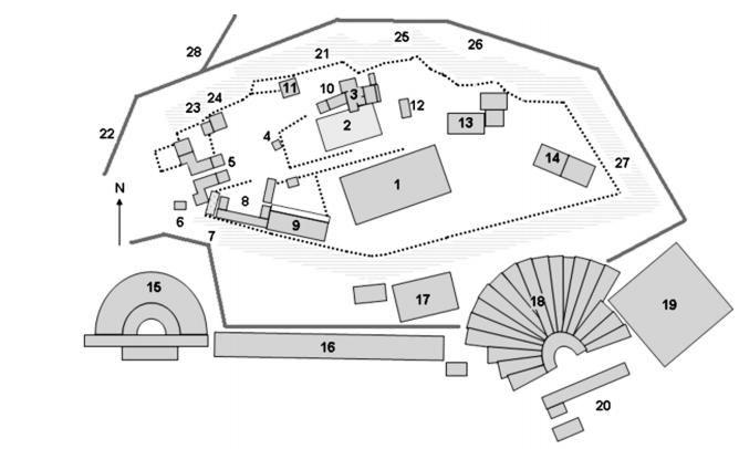 Piantina dell'acropoli di Atene nel V secolo.