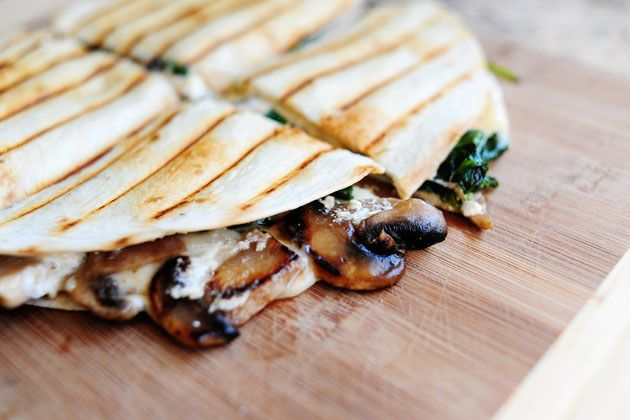 For meat free nights. Mushroom and Spinach quesadillas (family members who don't like mushrooms or spinach have gobbled this up).