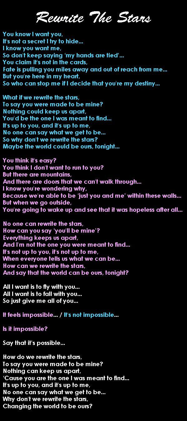 Rewrite The Stars Lostlove Takingachance Soulmates Forbiddenlove Thegreatestshowman Love Songs Lyrics Cool Lyrics Inspirational Songs