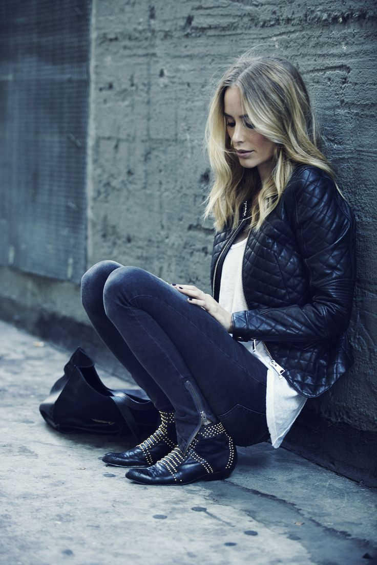 jeans. studded boots.
