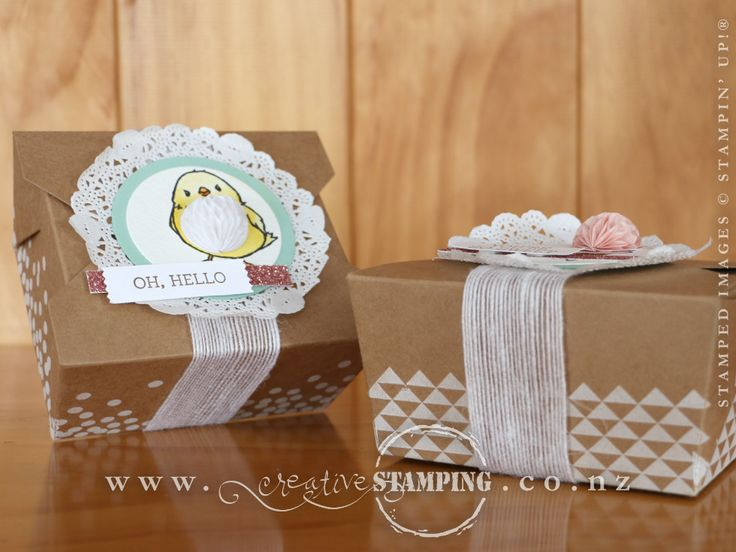 A Takeout Box decorated with Honeycomb Happiness stamp set and Honeycomb Embellishments - a perfect combination for Easter!  www.creativestamping.co.nz | Stampin' Up! | 2016 Occasions Catalogue | 2016 Sale-A-Bration
