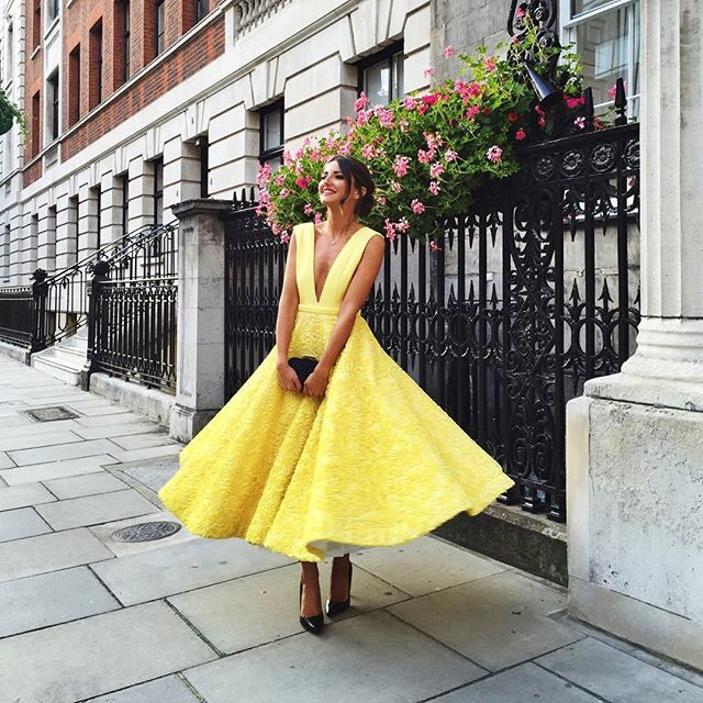 Pin for Later: All the Inspiration You Need This Wedding Season to Be the Best Dressed Guest A Bright Yellow Midi Dress