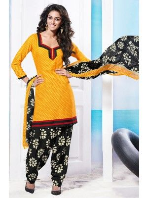 Yellow Black Cotton Pretty Patiala Salwar Kameez   parisworld.in