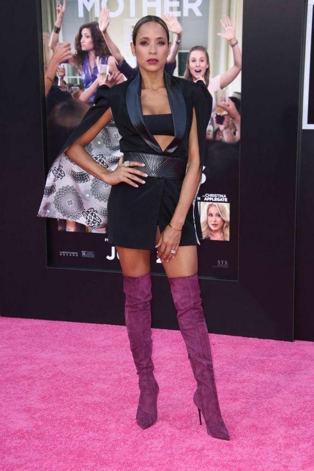 Splurge: Dania Ramirez's Bad Moms Los Angeles Premiere Meena Black The Valkyrie Cape Jacket and Le Silla Purple Suede Over the Knee Boots
