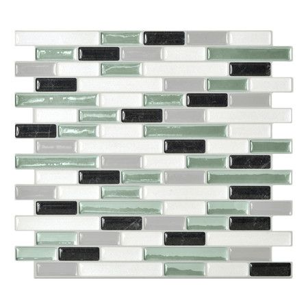 Mosaik Self Adhesive Wall Tile in White & Soft Green