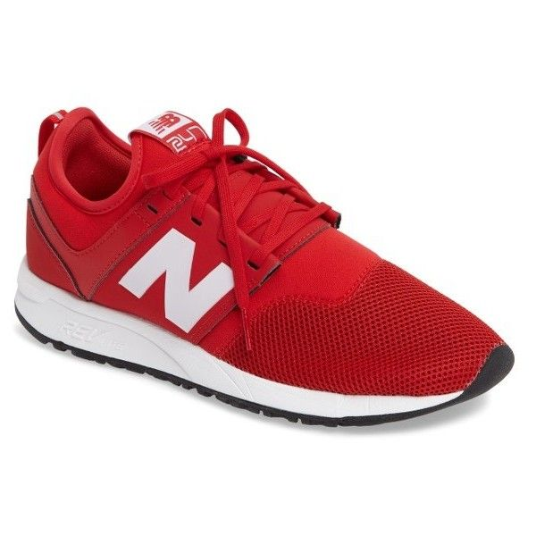 Men's New Balance 247 Classic Pack Sneaker ($48) ❤ liked on Polyvore featuring men's fashion, men's shoes, men's sneakers, red, new balance mens shoes, mens retro sneakers, mens red shoes, mens retro shoes and mens red sneakers