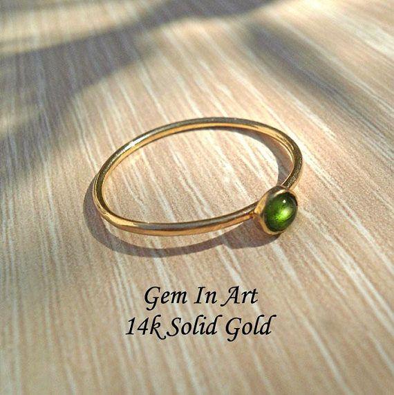 Gold stacking ringTourmaline RingSolid Gold ringDainty