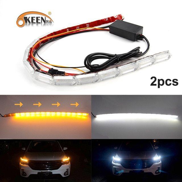 Okeen 2pcs Universal Flexible Headlight Led Daytime Running Strip Light Crystal Eyes Flow Turn Signal Car Drl Day Lamp S Strip Lighting Car Lights Gmc Vehicles