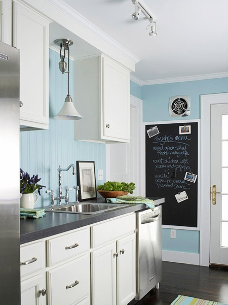 This is EXACTLY how we have decided to redo our kitchen! White cabinets, white trim, Teal/aqua walls, grey cabinet tops and pull outs for the white cabinets. Only difference is we are doing a yellow tiled backsplash. Yes, our kitchen is going to be our fav. colors: aqual teal, yellow, grey and white!