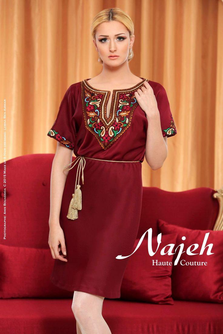 robe en soie avec broderie traditionnelle tunisienne habit traditionnel tunisien pinterest. Black Bedroom Furniture Sets. Home Design Ideas