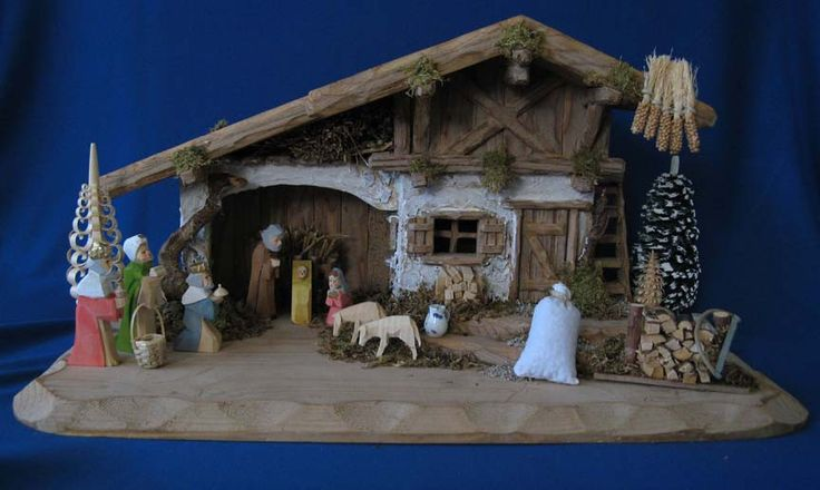 A very special buy. A delightful German Crib - Nativity - Creche Set. Stable, figures, and Bavarian accessories for the scene. Exquisite hand-carved Stable from Bavaria. Hand-carved and hand-painted nativity figures from the Franke Workshop in the Erzgebirge. Available at www.mygrowingtraditions.com