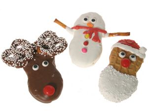 Nutter Butter Reindeer, Snowman, & Santa Cookies. Another Nutter Butter idea :-)