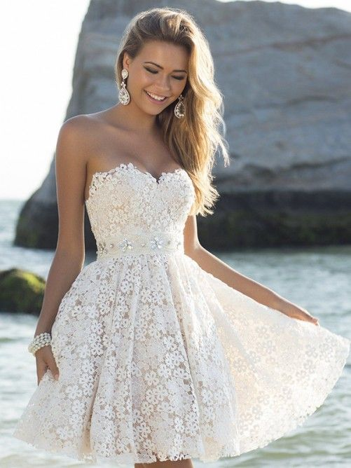 A-Linie/Princess-Stil Herz-Ausschnitt Ärmellose Kurze/Mini Spitze Kleider