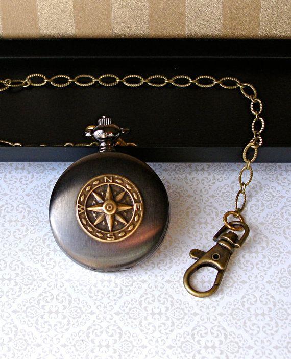 Steampunk Nouveau Pocket Watch chaîne à la main en laiton bronze boussole Sunburst or chiffres gothique Groom garçons d'honneur de l'homme p...
