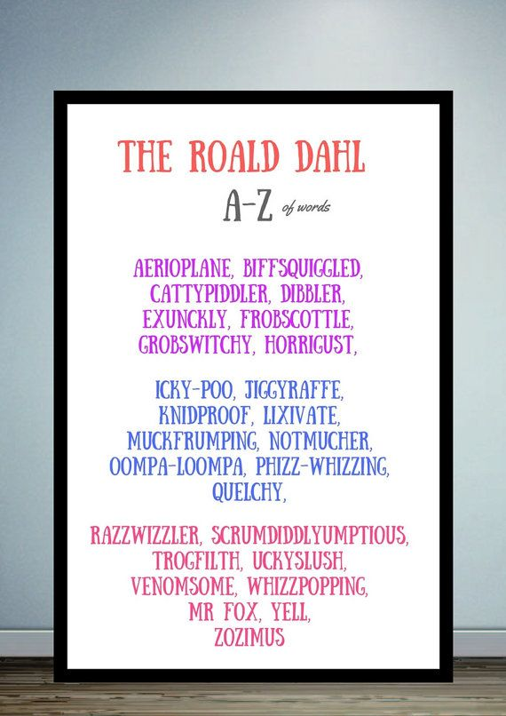 Roald Dahl Print Digital By Moodycowpoetryprints