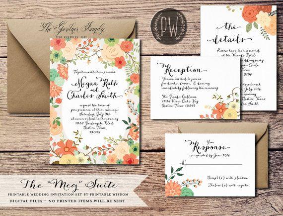 Printable Wedding Invitation Suite Floral Wedding Invite