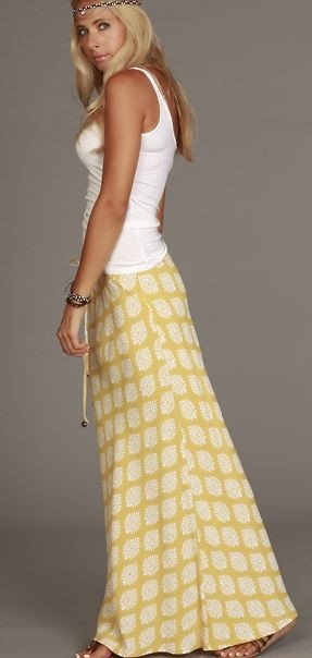 I'm feeling the long skirt/tank top look for summer. Nice and roomy and comfy for the growing belly.