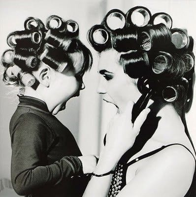 Cute concept. Mother daughter photo for bathroom.