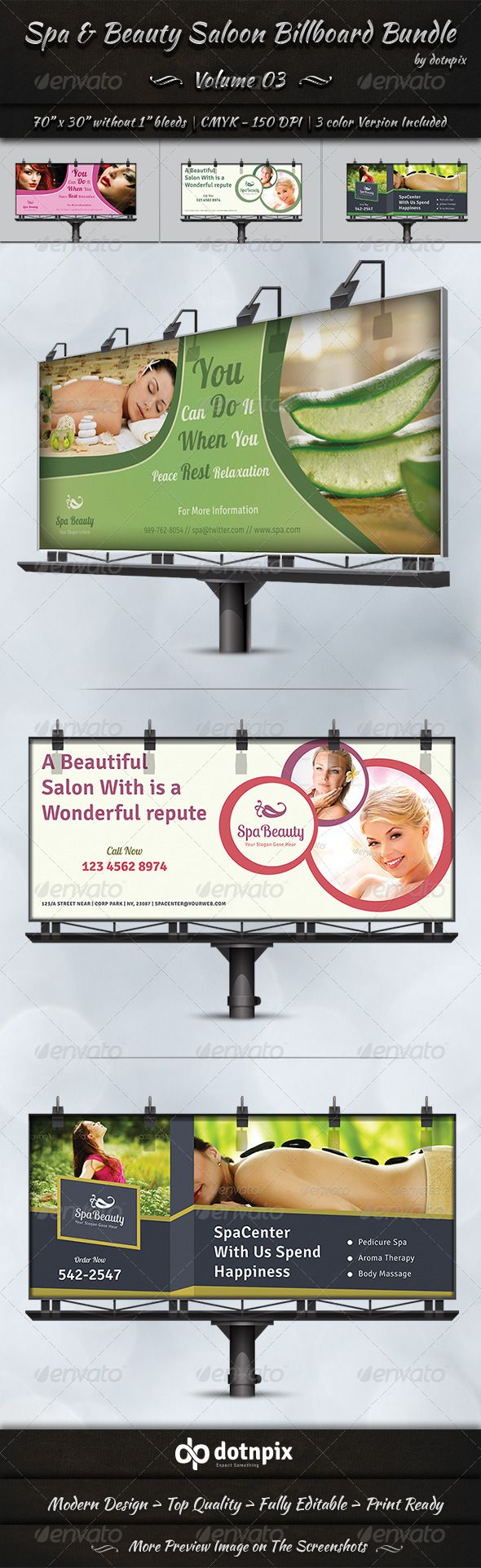 Spa Beauty Saloon Billboard Bundle Volume 3