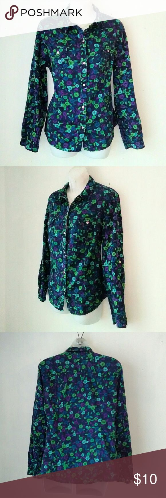 Old Naby Blue Floral Button down Shirt Blue purple floral print shirt. 100% cotton. Has 2 buttoned pockets . Excellent like new condition  B8 Old Navy Tops Button Down Shirts