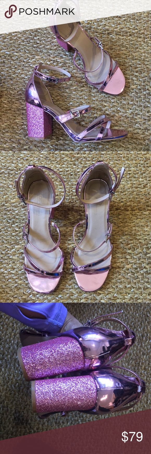 🦄ASOS Pink Glitter Chunky Heel Super cute pink glittery chunky heel sandals with ankle strap. Super comfortable. Worn 2 times. In perfect condition. Soles show minor signs of wear. Size says 7 but fits like a 9-9.5 .It was a factory error :) ASOS Shoes Sandals