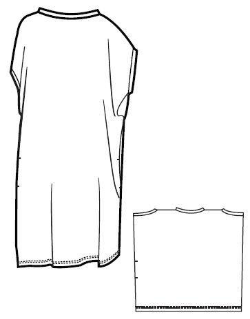 Seams at shoulders, sides, front and back, with v at front and back.  Taper sides to hem to make an inverted wedge reflecting the proportions of the v
