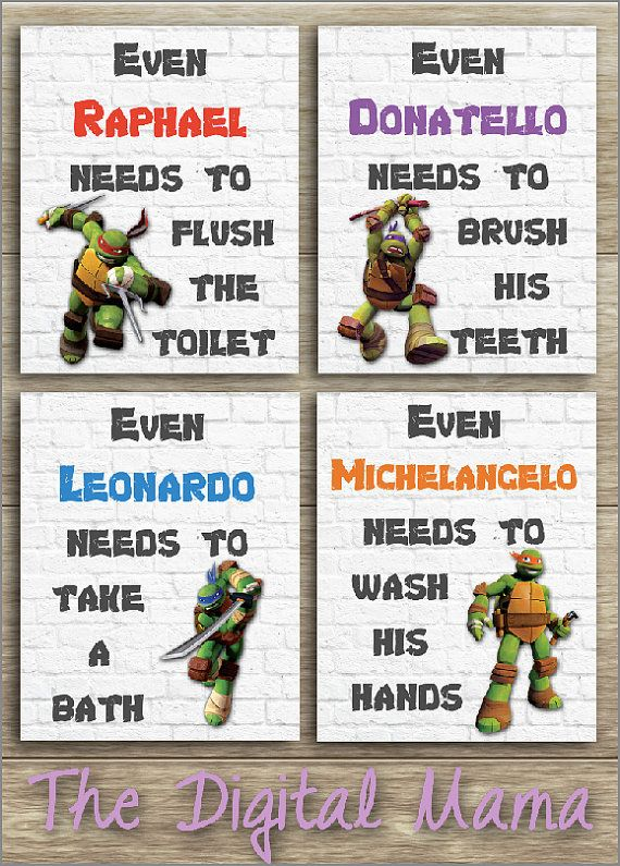 Ninja Turtles Bathroom Art  Wall Art Home Decor  by TheDigitalMama