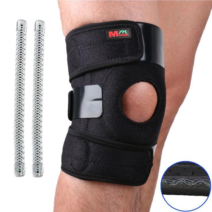 Mumian Lutut Adjustable Olahraga Leg Knee Support Lengan Brace Wrap Protector Pads Cap Patella Penjaga 2 Musim Semi Bar, Satu ukuran, Hitam