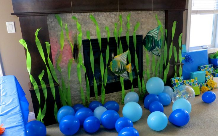 fireplace decoration idea -- shark party ideas shark themed | ocean theme birthday party decorations