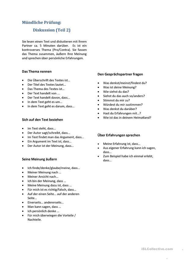 B2 Redemittel Mündliche Prüfung Diskussion Deutsch Als Fremdsprache