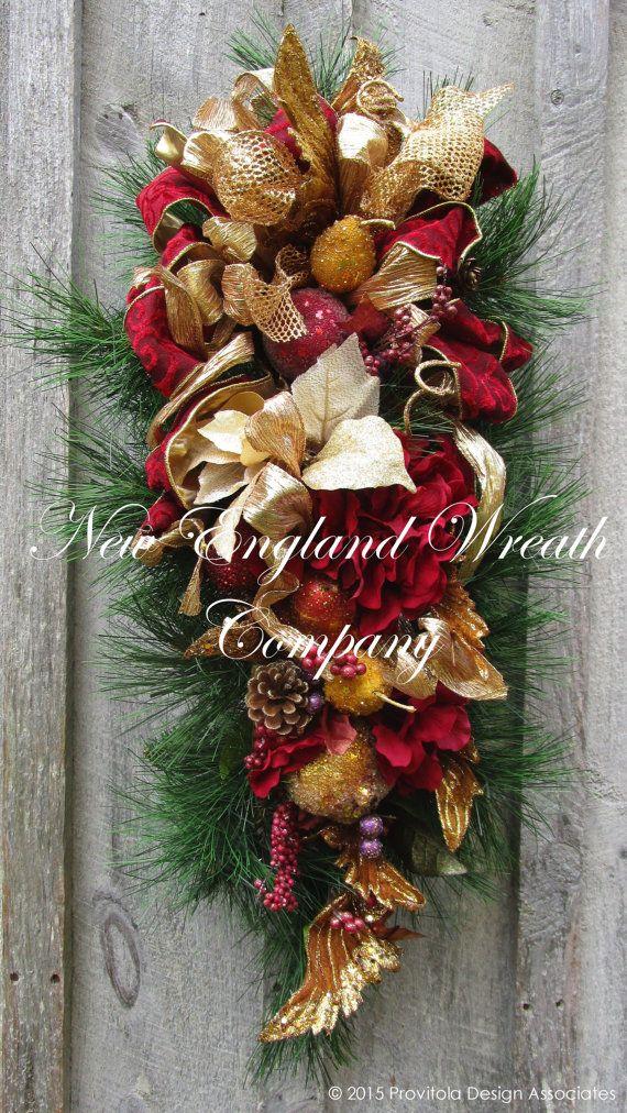 FREE SHIPPING, Christmas Swag, Holiday Wreath, Victorian Christmas Swag, Designer Christmas Swag, Jeweled Fruit, Elegant Holiday Wreath