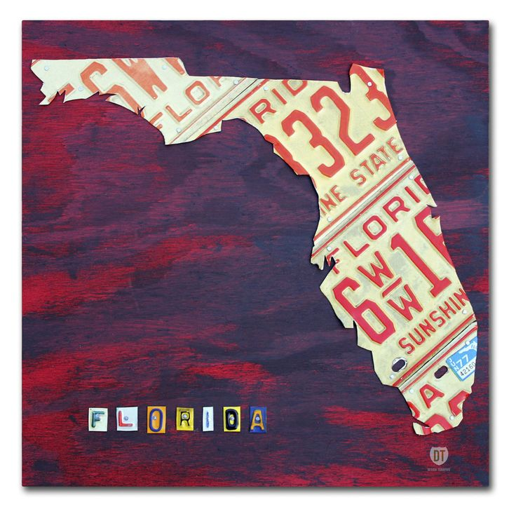 Trademark Fine Art Florida License Plate Canvas Wall Art - ALI1267-C1414GG