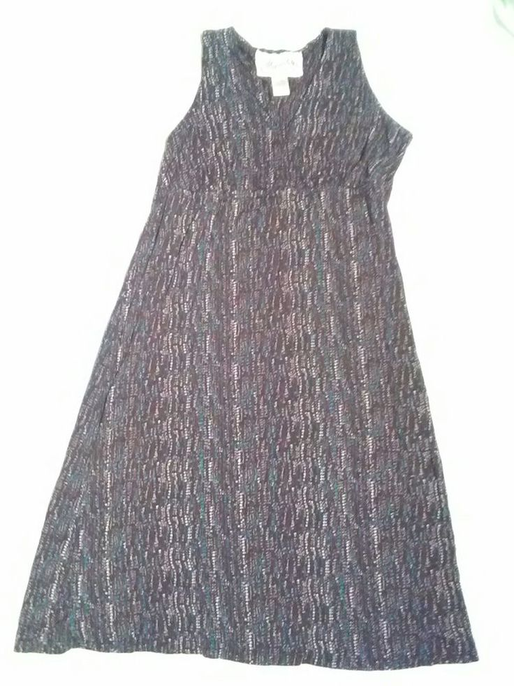 Aventura Dress Size Medium Organic Sun Dress brown teal cream sleeveless #Aventura #MaxiDress #AnyOccasion