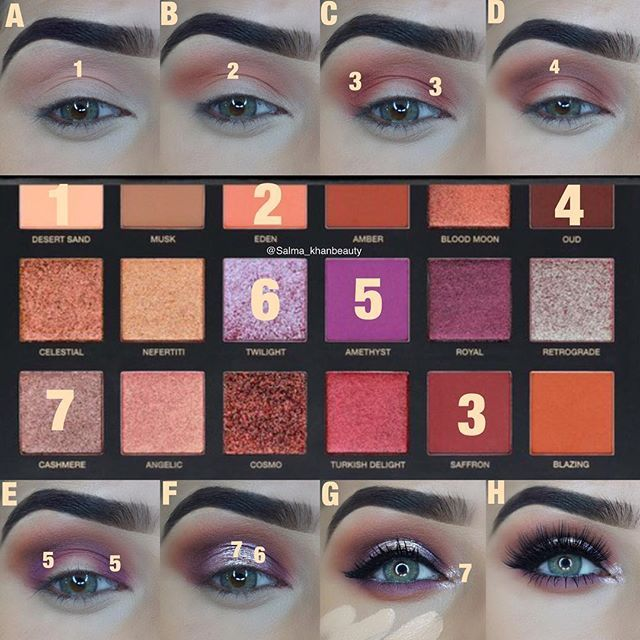 step by step pictorial Motd deets- endless looks with the #hudabeautydesertdusk  palette is launching on 18th September... save the date  @hudabeauty @shophudabeauty desertdusk palette eyeshadows in desert sand, Eden, oud, saffron, twilight, amethyst, cashmere & eyelashes In Noelle @anastasiabeverlyhills dipbrow pomade in medium brown @motivescosmetics fibre lush mascara @nyxcosmetics jumbo eye pencil in milk @tartecosmetics shape tape concealer in light medium & tarteist clay paint ...