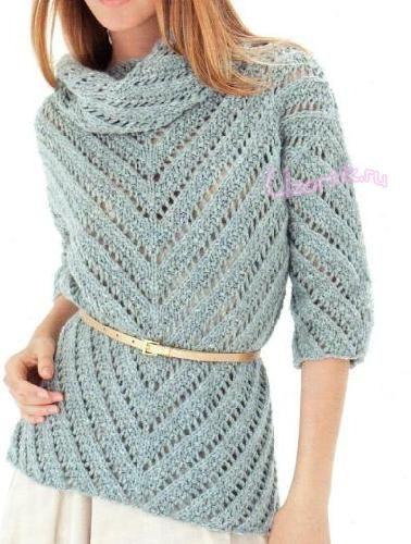 Пуловер спицами голубого цвета - Описание вязания, схемы вязания крючком и спицами | Узорчик.ру
