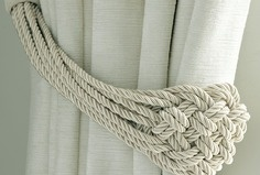 Plaited rope natural curtain tieback; Laura Ashley