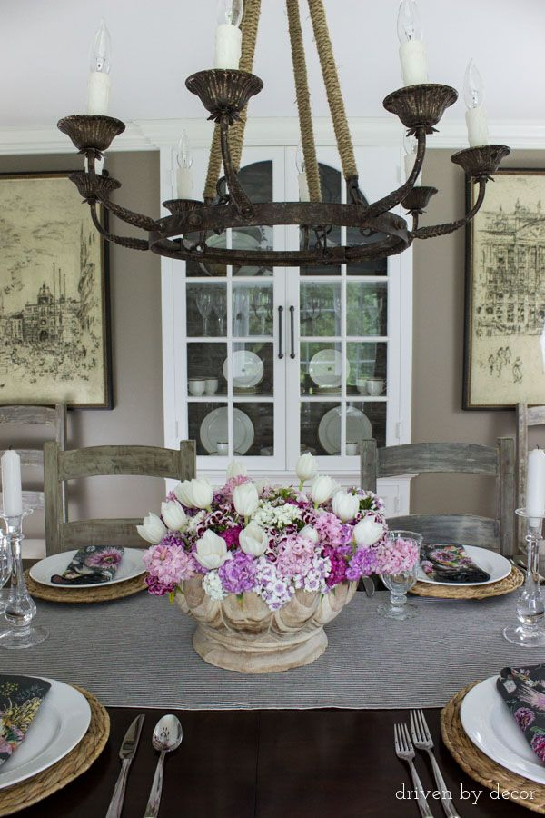 Dining Room In Neutrals With Colorful Floral Centerpiece