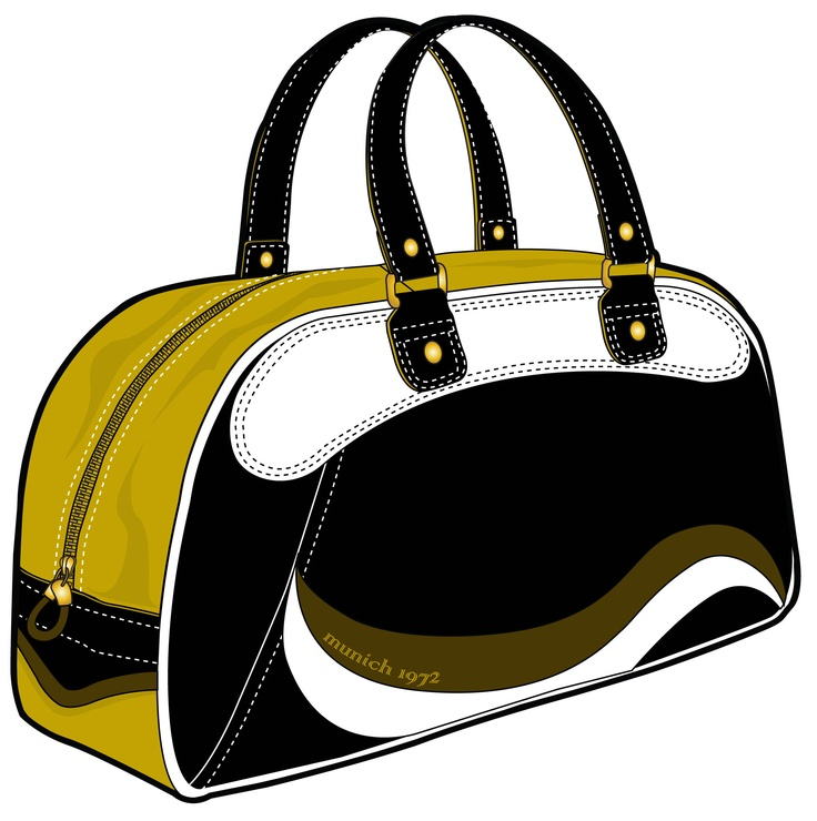 yellow bag with white-brown elements and black handles