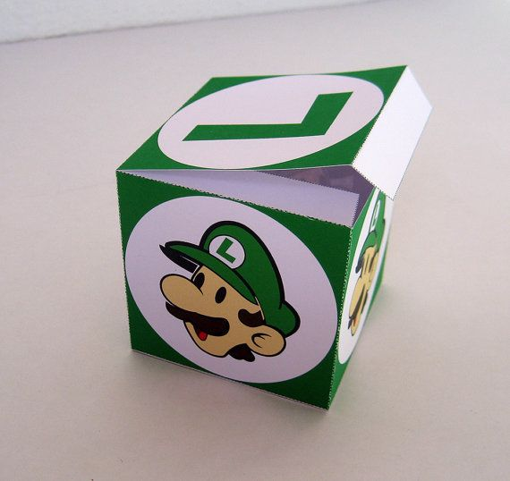 Green Luigi Box  Favor Treat or Gift Box  by paper4download