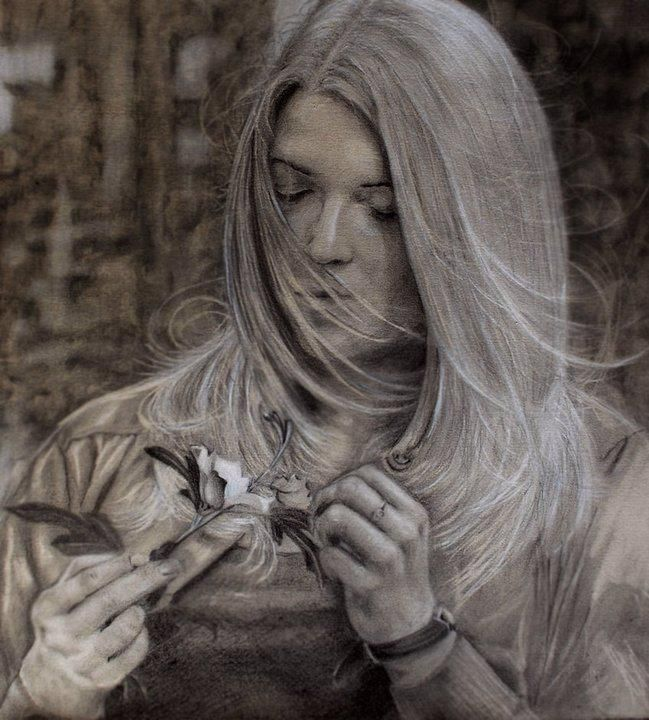 Girl gone with the wind - Realistic portrait drawing Find it on : https://www.facebook.com/StefanMarcuArt