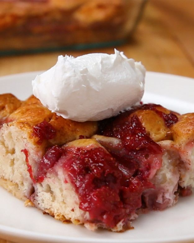 Strawberry Bake -Preheat oven 350˚F -Slice the 8biscuits into 8pieces &place in greased baking dish -In saucepan(med heat)mix 2cups diced strawberries& ½cup sugar, cook until boil. Reduce heat to a simmer &continue to cook until filling is smooth consistency. Remove from heat -Mix 2eggs, ½cup milk, ½cup maple syrup, 1tsp vanilla extract & ½tsp cinnamon in bowl, spread on top of biscuits in dish. Top w strawberry mix & cup strawberries -Bake 40-50mins/until golden brown; top w whipped cream