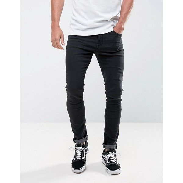 LDN DNM Super Skinny Jeans in Washed Black ($40) ❤ liked on Polyvore featuring men's fashion, men's clothing, men's jeans, black, mens super skinny jeans, mens skinny fit jeans, mens skinny jeans and mens flap pocket jeans