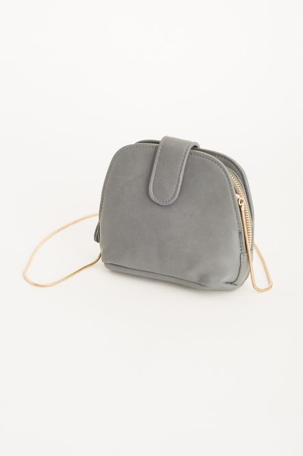 Half Moon Chain Bag Grey 100% Polyurethane.