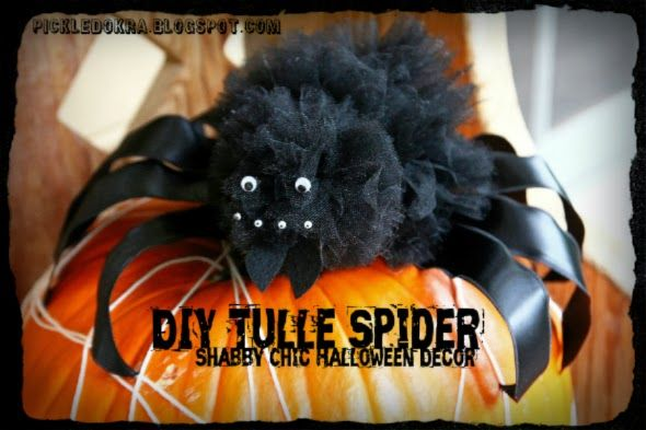 Pickled Okra by Charlie: DIY Tulle Spider: Shabby Chic Halloween Decor