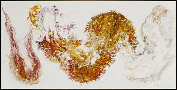 """White LARGE Abstract Art """"Improvisation of autumn"""""""