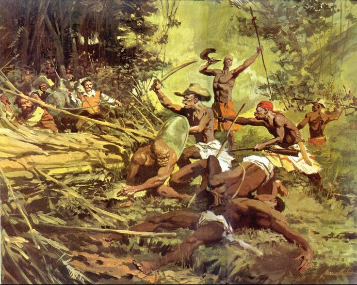 a scene from the history of Quilombo dos Palmares: